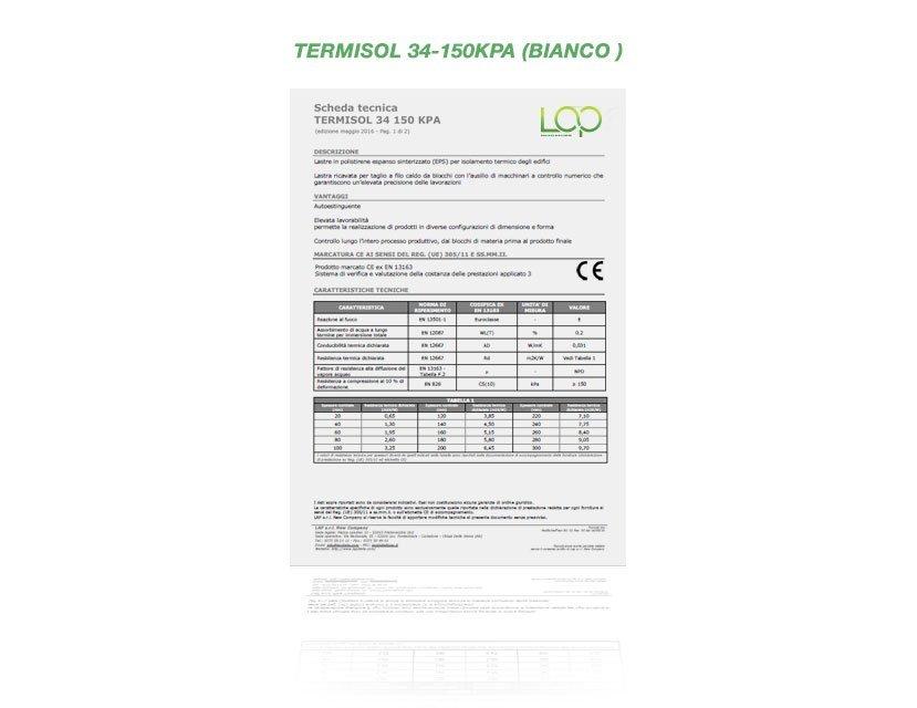 termiso polistirolo 34-150 KPA bianco